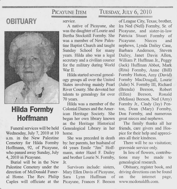 Picayune Item Obituary